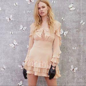 For Love & Lemons Nude Claire Ruffle Mini Dress